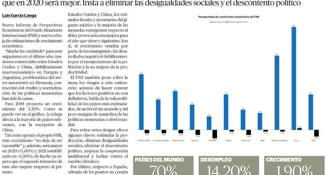"""Artículo sobre perspectivas del FMI de Luis García Langa publicado día 12 de abril en """"El Económico"""""""